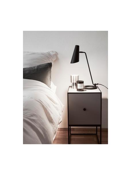 Grote tafellamp Cal van metaal, Lampenkap: gelakt metaal, Lampvoet: gelakt metaal, Zwart. Lampenkap binnenzijde: wit, 40 x 50 cm