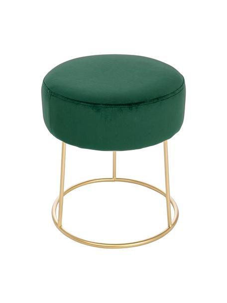 Ronde fluwelen kruk Clarissa, Bekleding: 100% polyester fluweel, Frame: MDF, Poten: gelakt edelstaal, Bekleding: groen poten: goudkleurig, Ø 35 x H 40 cm