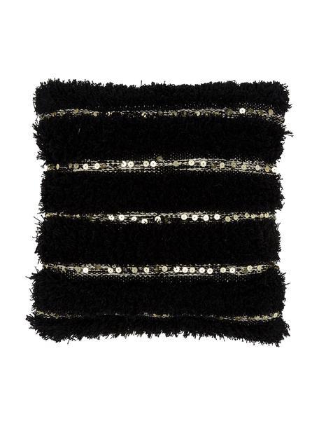 Kissenhülle Joana mit dekorativer Verzierung, 100% Baumwolle, Beige, Schwarz, 45 x 45 cm