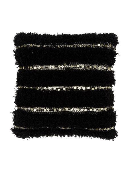 Federa arredo con ornamenti decorativi Joana, 100% cotone, Beige, nero, Larg. 45 x Lung. 45 cm