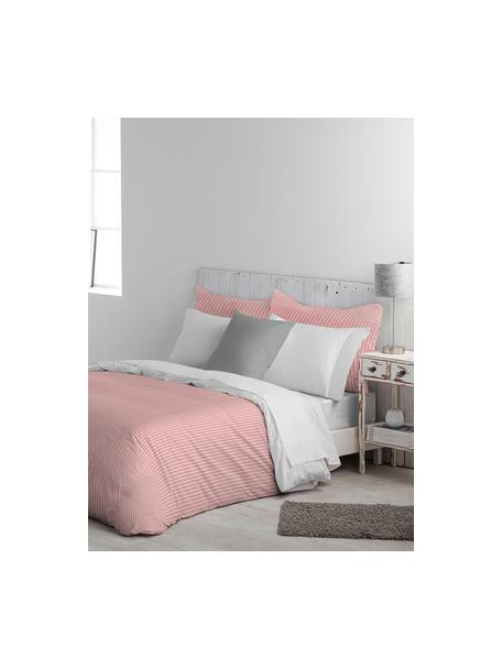 Dubbelzijdig dekbedovertrek Besso, Katoen, Bovenzijde: roze, wit. Onderzijde: wit, 140 x 200 cm