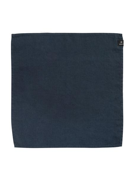 Servilletas de lino Sunshine, 4uds., Lino, Azul ceniza, An 45 x L 45 cm