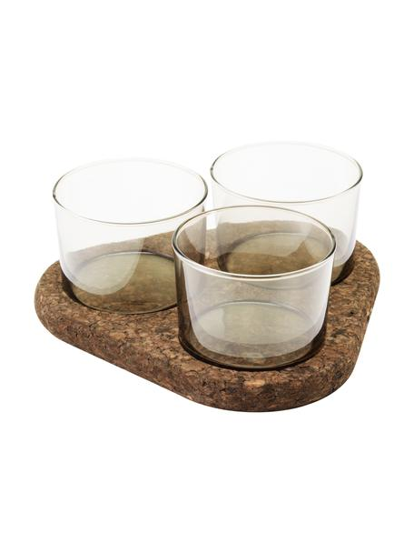 Glas Dipschälchen Raw, 3er-Set, Glas, Kork, Transparent, Braun, Set mit verschiedenen Größen