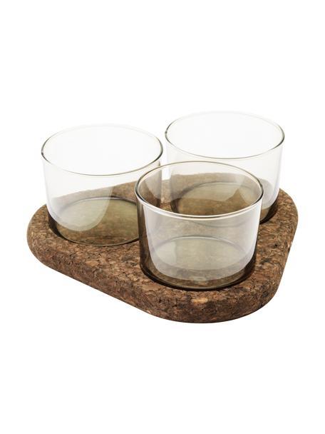 Komplet miseczek do dipów Raw, 3 elem., Szkło, korek, Transparentny, brązowy, Komplet z różnymi rozmiarami