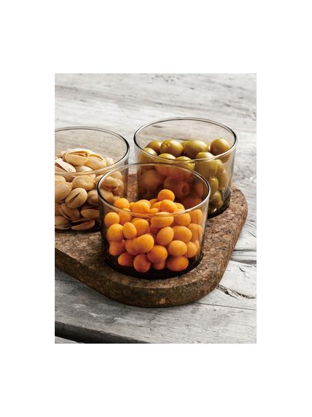 Glazen dipschaaltjes Raw, 3-delig, Glas, kurk, Transparant, bruin, Set met verschillende formaten