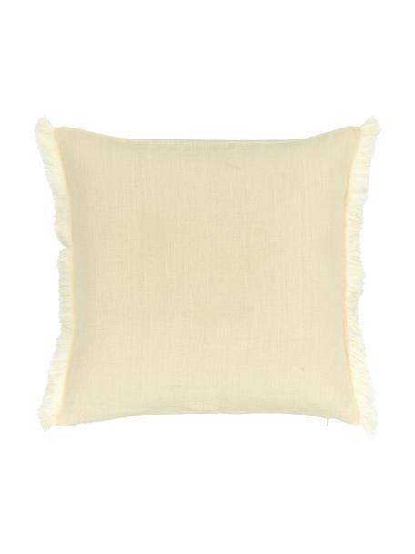 Federe arredo in lino giallo chiaro con frange Luana, 100% lino, Giallo, Larg. 40 x Lung. 40 cm