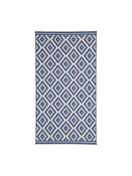 Gemusterter In- & Outdoor-Teppich Miami in Blau/Weiß, 86% Polypropylen, 14% Polyester, Cremeweiß, Blau, B 80 x L 150 cm (Größe XS)