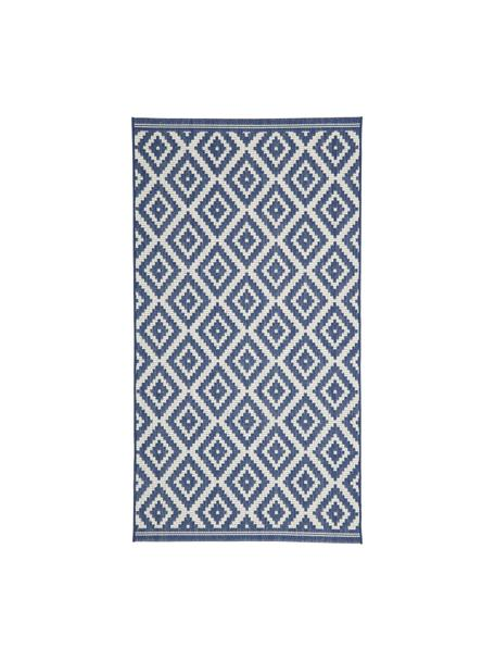 Tappeto fantasia color blu/bianco da interno-esterno Miami, 86% polipropilene, 14% poliestere, Bianco crema, blu, Larg. 80 x Lung. 150 cm (taglia XS)