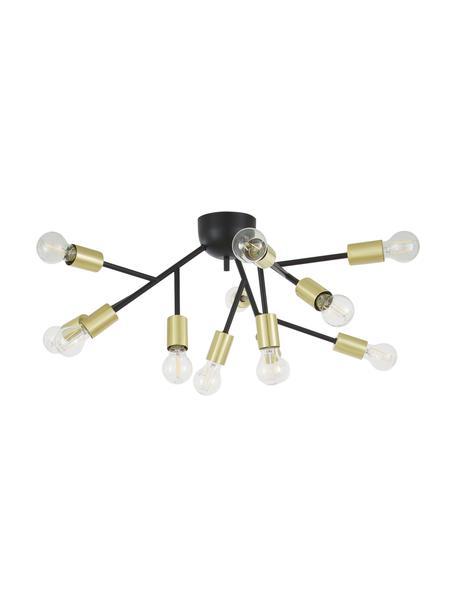 Grote plafondlamp Hero in zwart-goudkleur, Baldakijn: gepoedercoat metaal, Zwart, messingkleurig, Ø 72 x H 28 cm