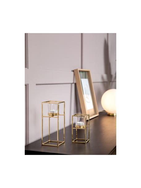 Komplet świeczników na podgrzewacze Tomba, 2 elem., Stelaż: metal powlekany, Transparentny, odcienie mosiądzu, Komplet z różnymi rozmiarami