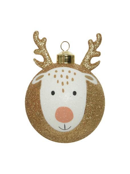 Weihnachtskugeln Happy Deer Ø 8 cm, 4 Stück, Braun, Weiß, Schwarz, Ø 8 cm
