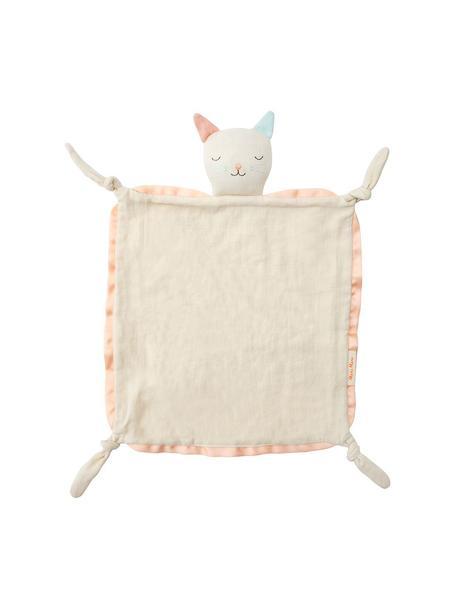 Doudou de algodón orgánico Cat, Borde: agodón satinado, Blanco crema, rosa, azul claro, An 40 x L 46 cm