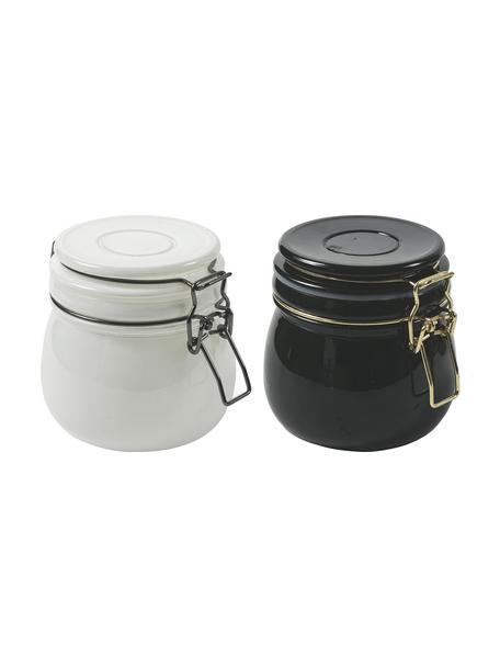 Opbergpottenset Modern, 2-delig, Glas, metaal, Wit, zwart, Ø 11 x H 10 cm