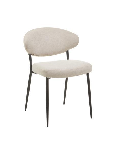Gestoffeerde stoelen Adele in beige, 2 stuks, Frame: gepoedercoat metaal, Geweven stof beige, 54 x 57 cm