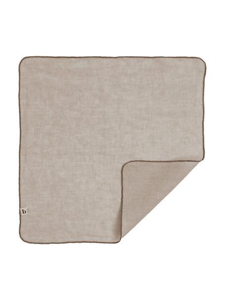 Leinen-Servietten Gracie in Taupe, 2 Stück, 100% Leinen, Taupe, 45 x 45 cm