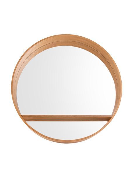 Runder Wandspiegel Sheer mit braunem Holzrahmen und Ablagefläche, Spiegelfläche: Spiegelglas, Braun, Ø 61 x T 8 cm