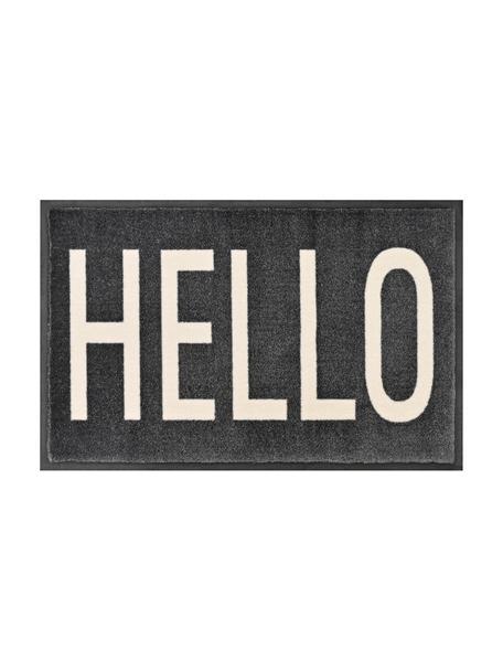 Wasbare polyamide deurmat Hello, Onderzijde: rubber, Donkergrijs, crèmekleurig, 50 x 75 cm