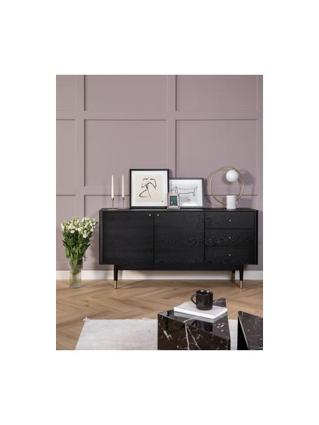 Credenza nera con finitura in quercia Fenwood, Piedini: legno massello di quercia, Nero, ottonato, Larg. 160 x Alt. 79 cm