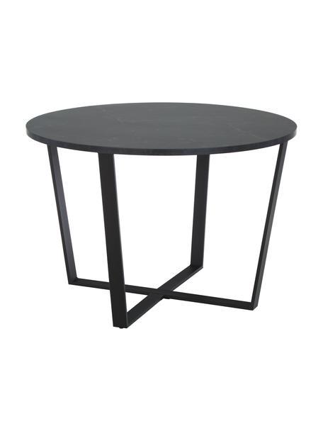 Mesa de comedor redonda Amble, tablero en aspecto mármol, Tablero: tablero de fibras de dens, Patas: metal con pintura en polv, Negro, Ø 110 x Al 75 cm