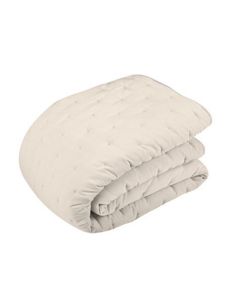 Colcha de terciopelo acolchada Cheryl, Parte superior: terciopelo de algodón, Reverso: algodón, Champán, Cama 135/140 cm (140 x 200 cm)