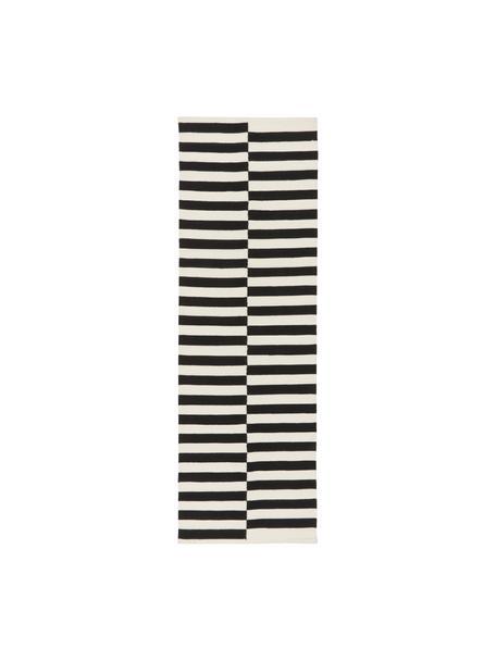 Alfombra kelim artesanal Donna, Parte superior: 80%lana, 20%nylon, Reverso: 100%algodón Las alfombra, Negro, An 80 x L 250 cm
