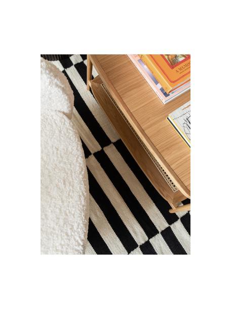 Handgeweven Kelim loper Donna met strepen, Bovenzijde: 80% wol, 20% nylon, Onderzijde: 100% katoen Bij wollen vl, Zwart, 80 x 250 cm