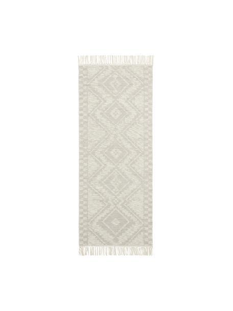 Passatoia in lana con motivo jacquard e frange Cindrella, 90% lana, 10% cotone, Bianco naturale, beige, Larg. 80 x Lung. 200 cm