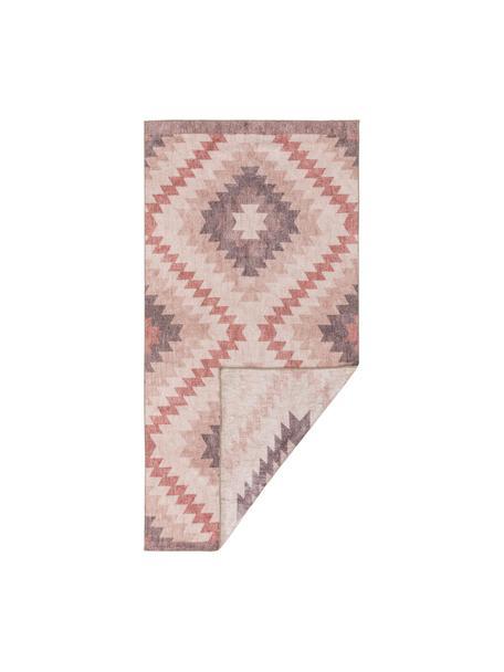 Kelimteppich Ana Diamonds mit Ethnomuster in Rosa, 80% Polyester 20% Baumwolle, Altrosa, Mehrfarbig, B 75 x L 150 cm (Größe XS)