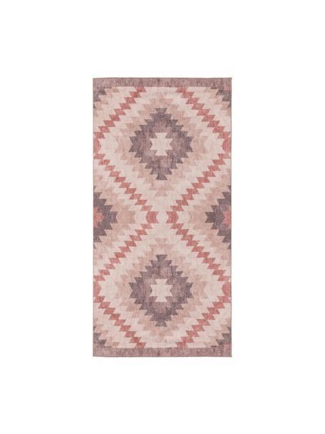 Tappeto kilim etnico Ana Dimonds, 80% poliestere 20% cotone, Rosa cipria, multicolore, Larg. 75 x Lung. 150 cm (taglia XS)