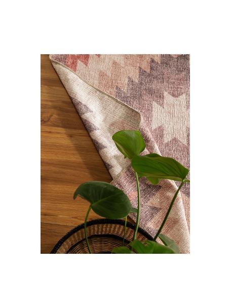 Dwustronny dywan kilim Ana Diamonds, 80% poliester 20% bawełna, Brudny różowy, wielobarwny, S 75 x D 150 cm (Rozmiar XS)