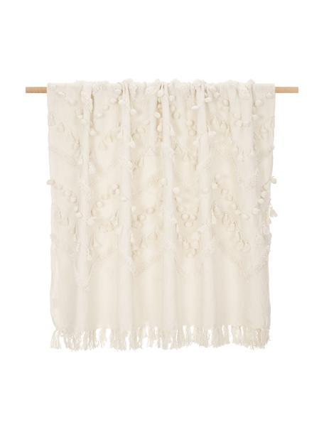 Manta de algodón con borlas y pompones Pana, estilo boho, 100%algodón, Blanco crema, An 130 x L 170 cm