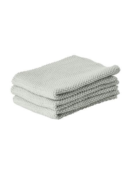 Paños de cocina Lotha, 3uds., 100%algodón, Verde salvia, An 27 x L 27 cm