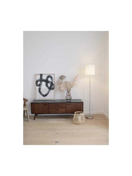 Vloerlamp Mick in wit-zilverkleur, Lampenkap: textiel, Lampvoet: vernikkeld metaal, Wit, zilverkleurig, Ø 28 x H 158 cm