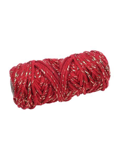 Sznurek prezentowy Twist, Bawełna z nićmi lateksowymi, Czerwony, odcienie złotego, D 25 m