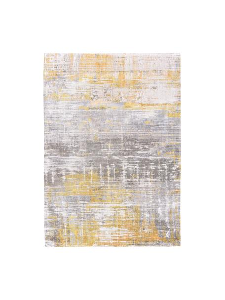 Alfombra de diseño Streaks, Parte superior: 85%algodón, 15%hilos de, Reverso: mezcla de algodón, recubi, Amarillo, gris, blanco, An 80 x L 150 cm (Tamaño XS)