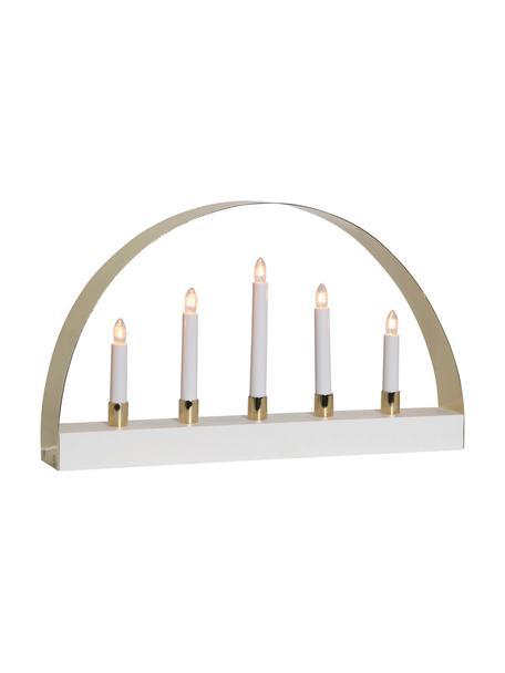 Oggetto luminoso con spina Noble, Bianco, dorato, Larg. 47 x Alt. 28 cm