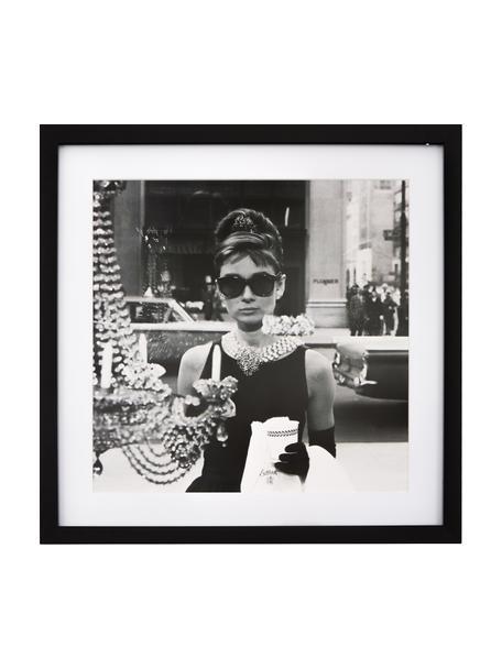 Impresión digital enmarcada Hepburn, Parte trasera: Paspartú de cartón, Negro, blanco, An 40 x Al 40 cm