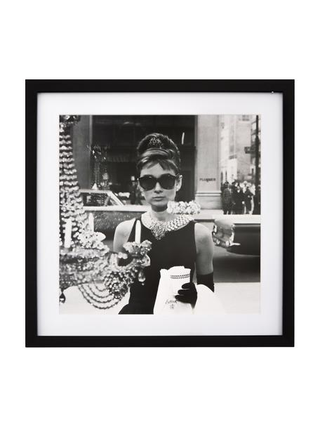 Stampa digitale incorniciata Hepburn, Immagine: Matho Litho carta, Cornice: telaio in materiale sinte, Nero, bianco, Larg. 40 x Alt. 40 cm