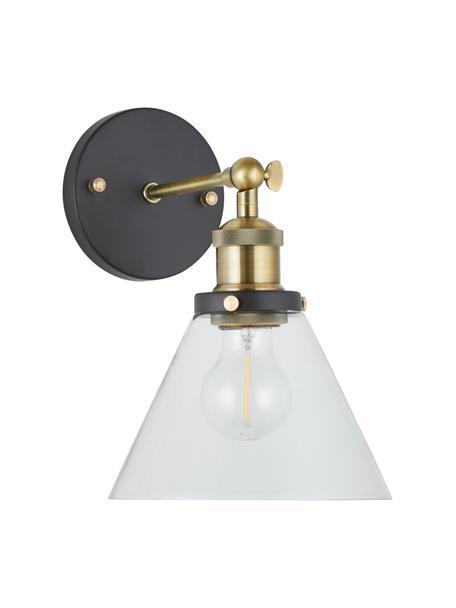 Wandlamp New York Loft No.1, Lampenkap: glas, Frame: messing, Zwart, messingkleurig, transparant, B 19 cm