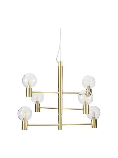 Grote hanglamp Unique met glazen bollen, Baldakijn: vermessingd metaal, Goudkleurig, Ø 60 x H 54 cm
