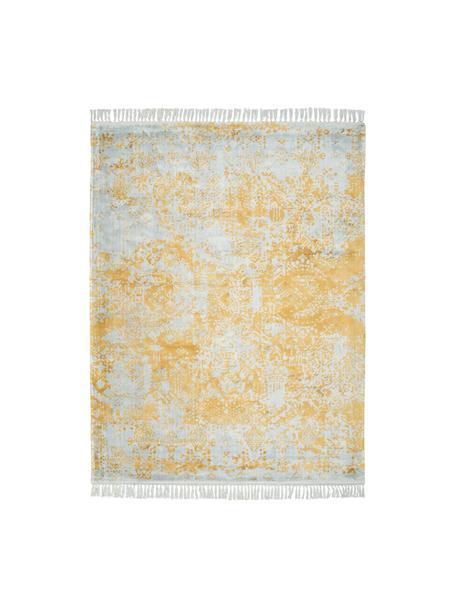 Handgewebter Viskoseteppich Dolcita mit Fransen, Flor: 100% Viskose, Grau, Goldfarben, B 120 x L 170 cm (Größe S)