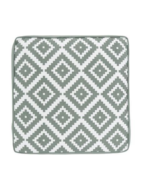 Cuscino sedia alto verde salvia/bianco Miami, Rivestimento: 100% cotone, Verde, Larg. 40 x Lung. 40 cm