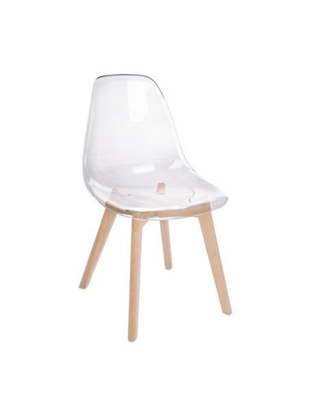 Sillas Easy, 2uds., Asiento: plástico, Patas: madera de haya, Transparente, haya, An 51 x F 47 cm