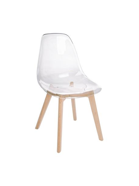 Transparante stoelen Easy, 2 stuks, Zitvlak: kunststof, Poten: beukenhout, Transparant, beukenhout, B 52 x D 47 cm
