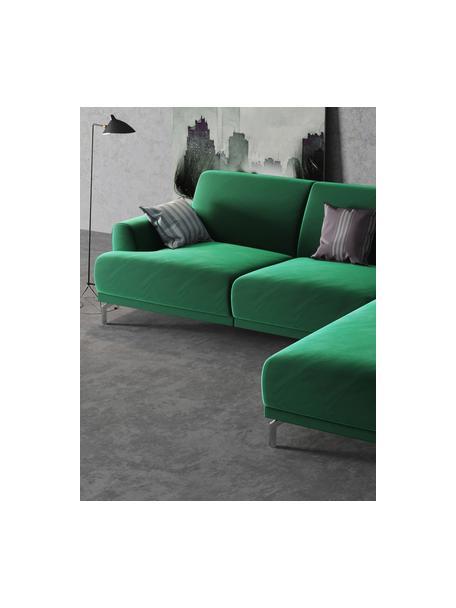 Sofa narożna z aksamitu Puzo, Tapicerka: 100% aksamit poliestrowy,, Nogi: metal lakierowany, Ciemnozielony, S 240 x G 165 cm