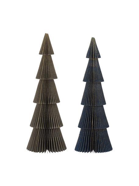 Decoratieve boompjes Milan H 30 cm, 2 stuks, Papier, Donkergroen, donkerblauw, Ø 10 x H 30 cm