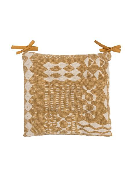 Boho stoelkussenBoa in mosterdgeel/wit, 100% katoen, Geel, wit, 40 x 4 cm