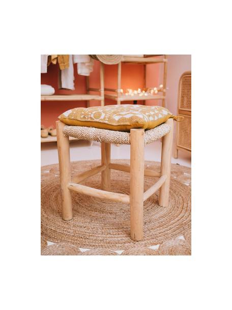 Cojín de asientoBoa, estilo boho, 100%algodón, Amarillo, blanco, An 40 x Al 4 cm