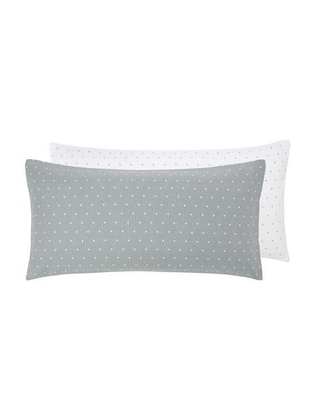 Flanell-Wendekissenbezüge Betty, gepunktet, 2 Stück, Webart: Flanell Fadendichte 144 T, Grau, Weiß, 40 x 80 cm