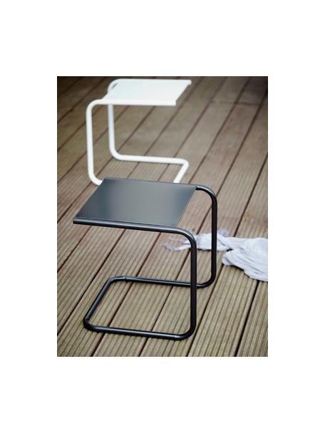 Mesa auxiliar para exterior de metal Club, Tablero: metal con pintura en polv, Estructura: aluminio con pintura en p, Blanco, An 40 x F 40 cm